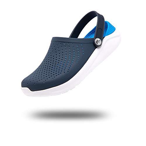 Zuecos Hombres Sandalias Playa Mujer Zapatillas Piscina Chanclas Verano Zapatos Antideslizante Slippers Sanitarios Cómodo Negro Blanco Gris Rojo Unisex 36-45 Azul-Blanco 44