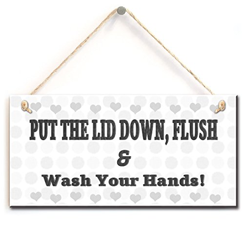 zhongfei Toilet Warning Sign- Put The Lid Down, Flush & Wash Your Hands, Retro Style Bathroom Toilet Sign (5' X 10')