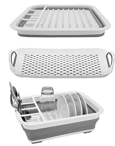 Ahyuan Collapsible Dish Drying Rack and Drainboard Set Portable Dish Drainer Storage Organizer Camping RV Kitchen Accessories for Travel Trailers RV Campers (12.4