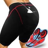 GRAT.UNIC Pantalones Cortos de Bicicleta,Shorts de Ciclismo,9D Padded Shorts,Gel de Silicona,Biker Shorts, Medio Pantalones para Bicicleta de Carretera (Negro&Rojo, M)
