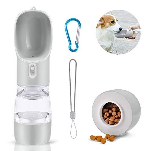 QGKJ Portátil Botella de Agua para Perros Gatos,Multifuncional Botella para Perros,Botella de Agua para Cachorro de Fugas con Alimentador para Mascotas para Caminar, Viajar al Aire Libre. (Gri