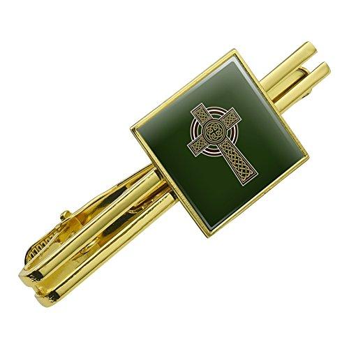 GRAPHICS & MORE Celtic Christian Cross Irish Ireland Square Tie Bar Clip Clasp Tack- Silver or Gold
