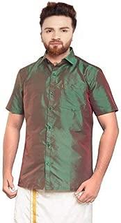 SJS-Men's Half Sleeve Solid Art Silk Shirt (Green Red, 36)