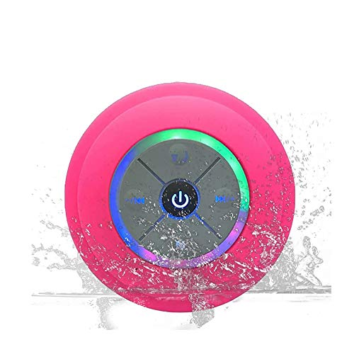 KKING Bluetooth-Duschradios, wiederaufladbarer wasserdichter USB-Bluetooth-Lautsprecher mit starkem Saugnapf, HD-Surround-Sound, Freisprechfunktion für Mikrofone, tragbares LED-Duschradio,Rosa