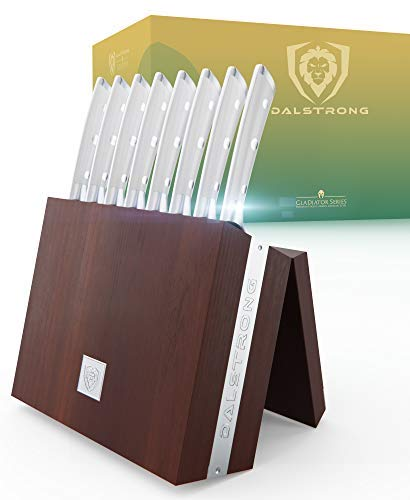 Dalstrong Steak Knife Set with Folding Block - Gladiator Series - Set of 8 - Forged German ThyssenKrupp HC Steel - w/Modular Storage Block (5' Straight Edge Blade, Glacial White ABS Handle)