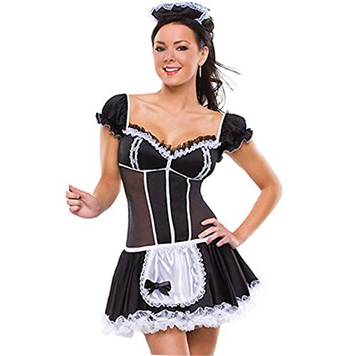 CVBNM Disfraz de dama de mucama sexy Lolita vestido de criada con delantal uniforme vestido de noche fiesta carnaval