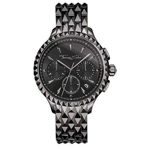 Thomas Sabo Damen Chronograph Quarz Uhr mit Edelstahl Armband WA0348-202-203-38 mm