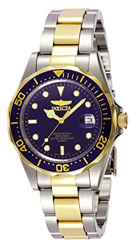 Relógio masculino de quartzo Invicta Pro Diver 37,5 mm, cor de aço e dourado em aço inoxidável, dois tons/azul (modelo: 8935)