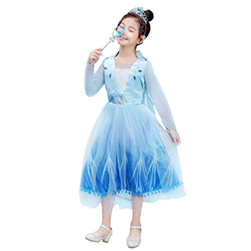 Lito Angels Disfraz de princesa Elsa para niñas, de la nieve, de la reina del hielo de la nieve, de Halloween, Navidad, cumpleaños, fiesta de disfraces