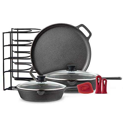 """Cast Iron Cookware 6-Pc Set - 10"""" + 12"""" Skillet & Glass Lids + Pizza Pan + Panrack Organizer + Silicone Handle Covers + Scraper/Cleaner - Pre-Seasoned Essentials Kit - Stovetop, Grill, Indoor/Outdoor"""