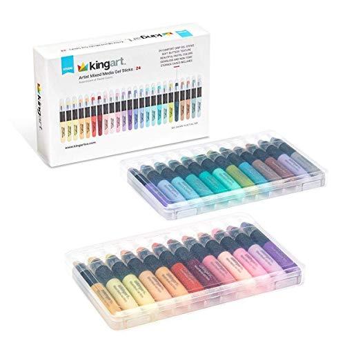 KINGART Stick Artist Watercolor, Set of 24 Unique Pastel Colors Gel Crayons, Assorted 24 Piece