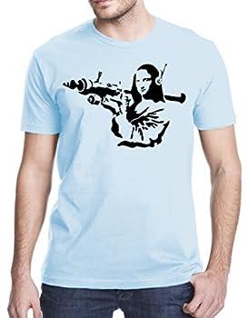 Banksy Mona Lisa Bazooka T-Shirt XL Light Blue