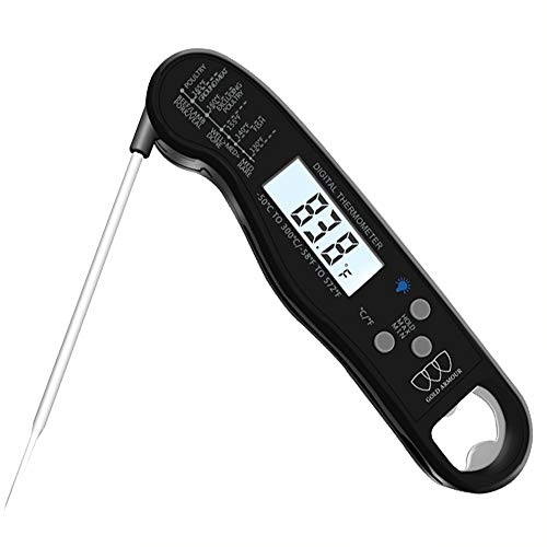 Instant Read Meat Thermometer, Waterproof Digital Food Thermometer with Backlight Lcd & Calibration Ultra Fast Kitchen Thermometer Cooking, Baking, Turkey, Bbq with Bottle Opener (Black)
