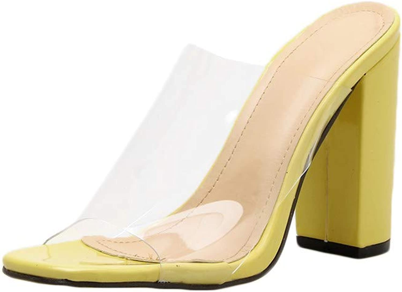GreatGiftList Women's PU Clear High Heels Open Toe Sandal Slip On Mule Dress shoes with Leopard Painting