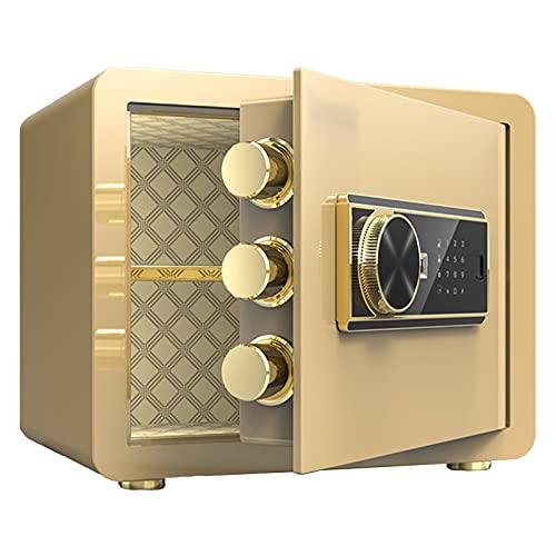 Caja de Seguridad Electrónica, Caja Fuerte, Caja Fuerte Doméstica Pequeña, Caja Fuerte Pequeña, Marrón/Dorado/Negro Opcional, (38x30x30cm)