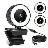 Diealles Shine Streaming Webcam mit Ringlicht, 1080P Webcam Ringlicht mit Mikrofon, USB Webcam für Live-Streaming Mac Laptop Zoom Skype Windows
