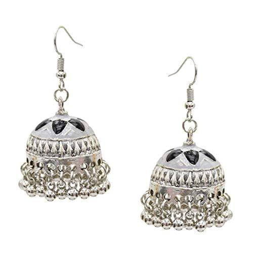 IPOTCH Indische Silber mit Tasel Klinge Jhumka Jhumki Ohrringe Für Damen Mädchen - Weiß