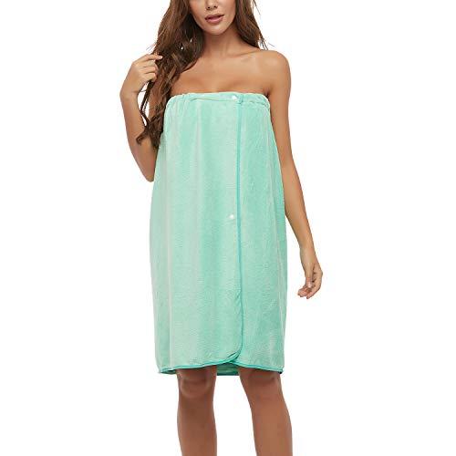 Lu's Chic Women's Bath Wrap Towel Soft Shower Towel Absorbent Adjustable Closure Spa Wrap Robe Green Small-Medium