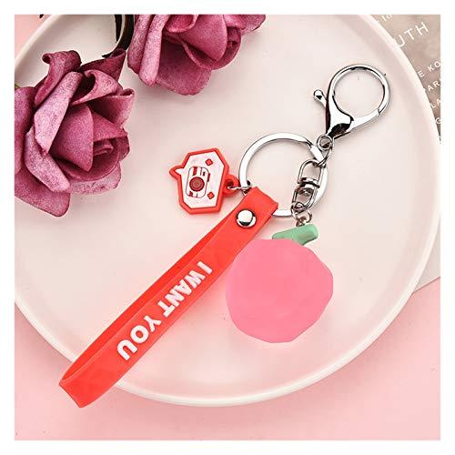 Xcwsmdq Schlüsselanhänger Sommer Süße Frucht-Keyring Mädchen Birne Ananas Erdbeere Auto Keychain Beutel-Anhänger Schlüsselanhänger Weibliche Charm Schmuck (Color : Apple)