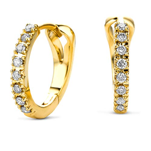 Miore round hoop earrings in 14 kt 585 yellow gold with brilliant cut diamonds of 0.11 ct - Ø 11 mm