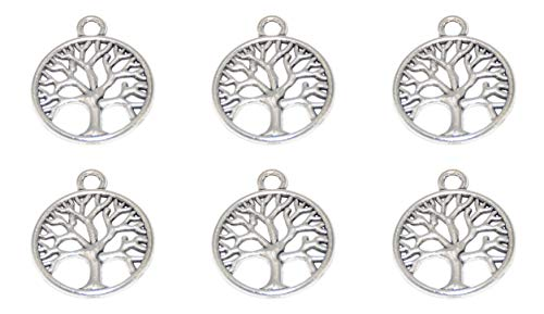 Yansanido Pack of 50 Round Tree of Life Charms Pendants for Making Bracelet and Necklace (Tree 50pcs Silver)