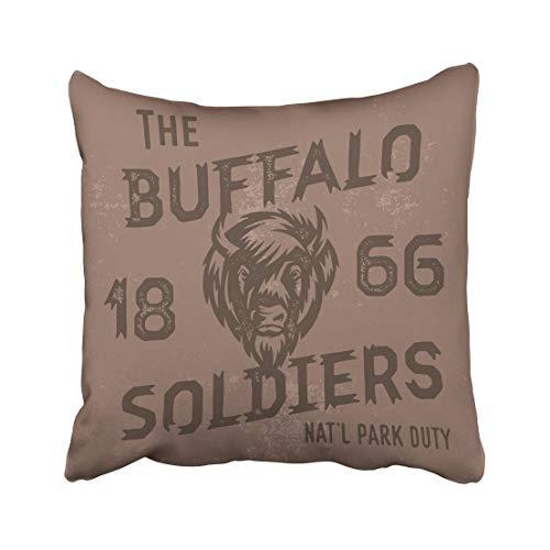 AEMAPE The Buffalo Soldiers Histórico Nacional Vintage Americana Retro Letras de Mano Funda de cojín Funda de Almohada 40X40 Cm