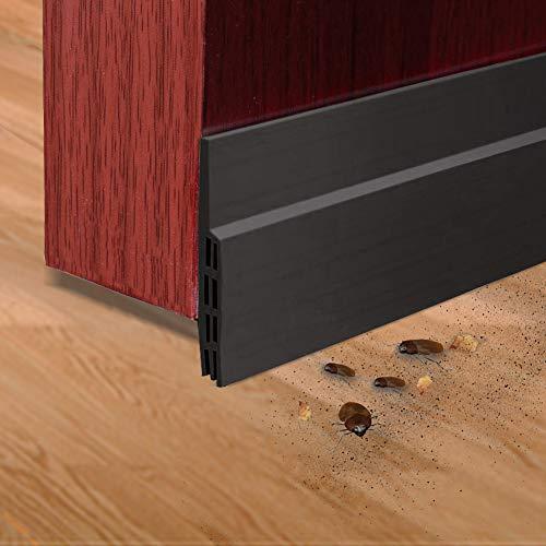 Door Sweep Door Draft Stopper Door Bottom Seal Strip Under Door Stopper Draft Guard Blocker for Home, Exterior, Storm, Interior Door Threshold Soundproof (2 Pack, Black)