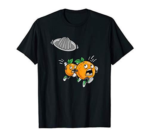 Laufende Orangen Außerirdische Fliegende Saftpresse Orangen T-Shirt