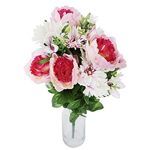 Rabbihom Grande 65x30cm Peonía Crisantemo Flores Artificiales Flores Falsas Ramo de Plástico Realista Planta Artificial...