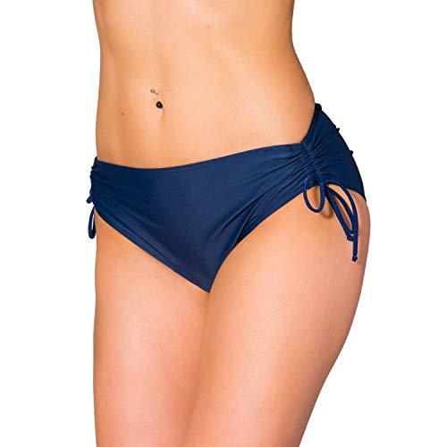 Aquarti Damen Bikinihose mit Raffung und Schnüren, Farbe: Dunkelblau, Größe: 40