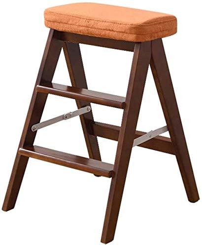 N/Z Life Equipment escabeau en Bois escabeau en Bois Pliant escaliers de Cuisine bibliothèque Bureau 3 marches escabeau Coussin Amovible chaises Pliantes (Couleur: 4 Taille: A)