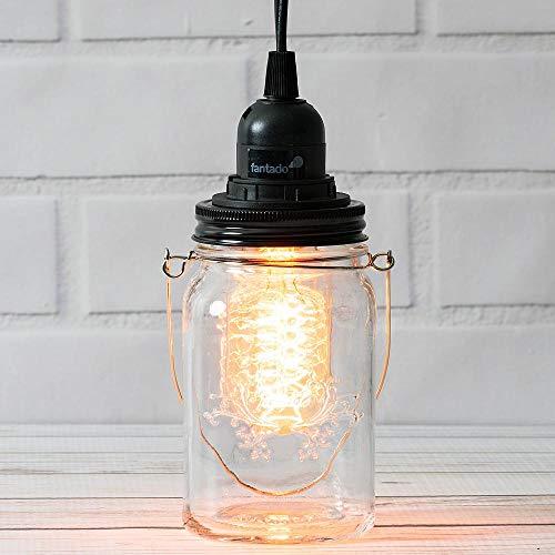 Fantado Mason Jar Pendant Light Kit, Regular Mouth, Black Cord, 15FT by PaperLanternStore
