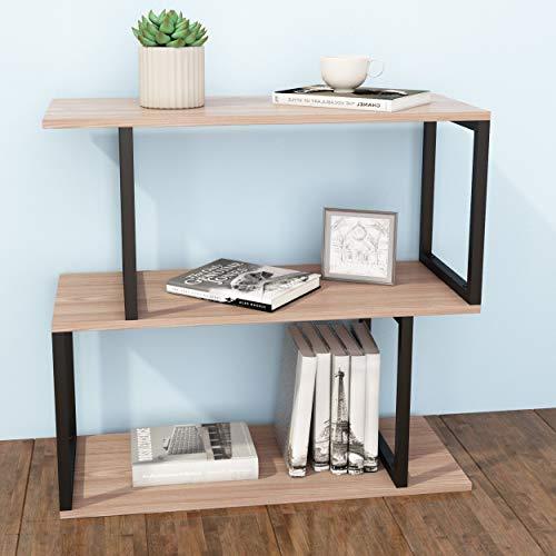 Preisvergleich Produktbild JOISCOPE Bücherregal,  2-stöckiges Ausstellungsregal im Industrie Design,  einfach zu montieren,  Metallrahmen,  Geeignet für Schlafzimmer,  Wohnzimmer,  Wohnheim,  Büro (Weißeichenoberfläche)