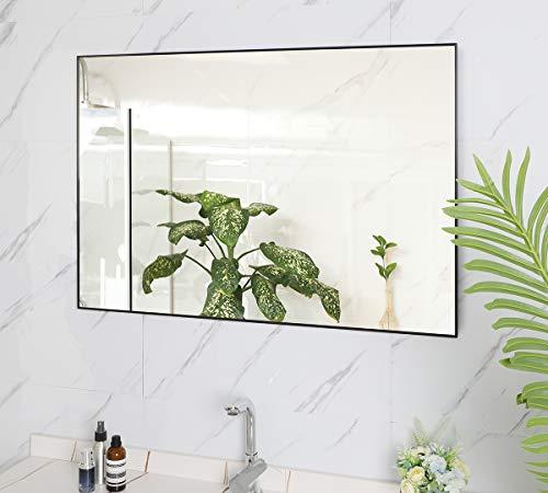 BEAUTME Espejo de Pared Grande y Moderno, 91x61 cm, con Marco de aleación de Aluminio, decoración de Espejo de Pared, se cuelga Horizontal o verticalmente para Dormitorio, baño