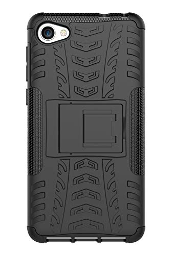 Tianqin Funda Alcatel A5 LED, Ultra Delgado Anti Caída Protección Dual Layer Bumper 2 in1 Híbrida Rugged Case Antideslizante Soporte Cover para Alcatel A5 LED - Negro