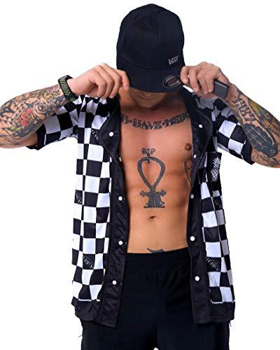IVIBED Checkerboard EDM Festival Rave Jersey - Baseball Checker T-Shirt Hidden Pockets