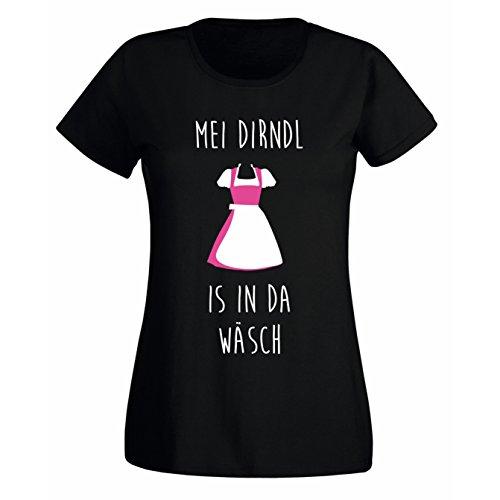 Damen Fun T-Shirt MEI Dirndl is IN DA WÄSCH - Oktoberfest München Wiesn Bayern München schwarz XXL