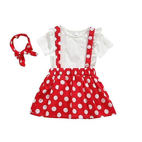 Gyratedream Zomer Baby Meisje Korte Mouw Katoen T-shirt Blouse Polka Dot Strap Rokken met Hoofdband Casual Outfits Set
