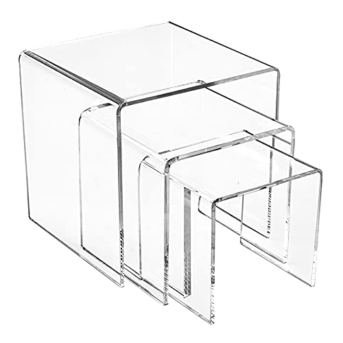 Lrxinki Soportes De ExhibicióN De AcríLico Transparente, 3 Piezas De Organizador De Joyas Soportes De ExhibicióN De AcríLico Transparente, ExhibicióN De JoyeríA, con PelíCula Protectora Pegajosa