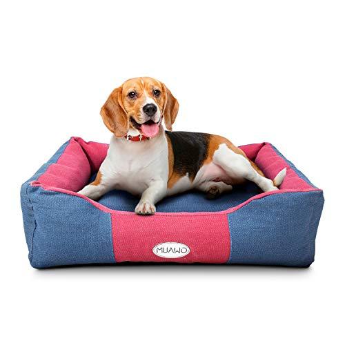 Muawo Premium Hundebett mittlere und Grosse Hunde. Geschenke für Hundebesitzer, Hundeliebhaber und Hundehalter. Rutschfestes Hundekörbchen, robust und gemütlich (L 80 x 65 x 20, Blau/Rot)