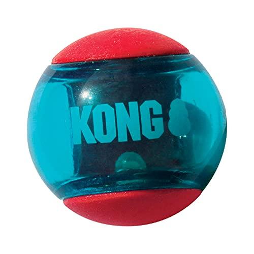 KONG - Squeezz Action Ball Rojo - Juguete sonoro para Buscar con Textura - para Perros de Raza Mediana