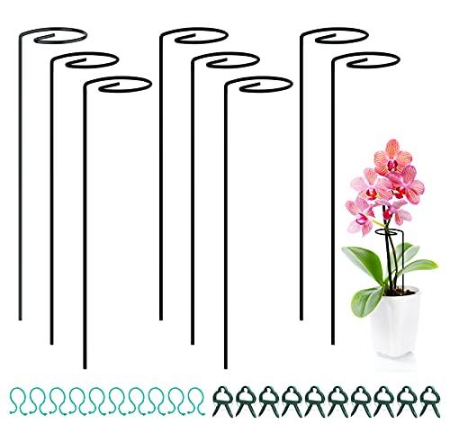 Adorfine 8 Stück Pflanzenstütze Staudenhalter Strauchstütze Stahl mit 10 Pflanzenclips und 10 Pflanzenklammern Garden Single Stem Stützring für Pflanzen Gemüse Blume Orchideen (40cm)