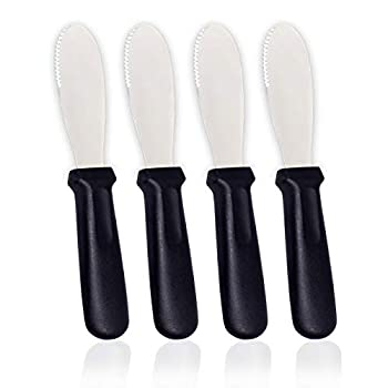 Butter Spreader Knives | 4 PCS Wide Blade Stainless Steel Spreader Knife | Black Plastic Handle Spreading Knives | Sandwich Condiment Spreader | Bread Knives Set of 4 | Soft Cheese Spreader | Anapoliz