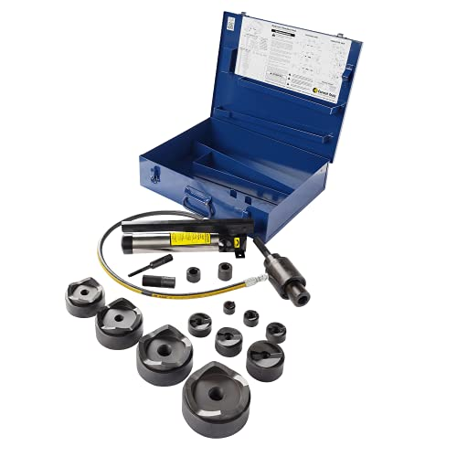 """CURRENT TOOLS 154PM Hydraulic Knockout Set - 1/2"""" - 4"""" Punch Driver Kit with Piece Maker Punches and Dies & Metal Case"""
