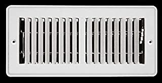 """3"""" X 10"""" Mobile Home RV Floor Register Vent Grille with Back Dampers - Fixed Blades - 2 Way Deflection - White"""