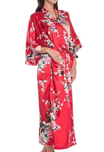 Femmes Kimono Peignoir Pyjama Longue Imprimé Paon Elégante - Robe de Nuit de Bain de Chambre Soie Artificielle - Rouge - Taille L