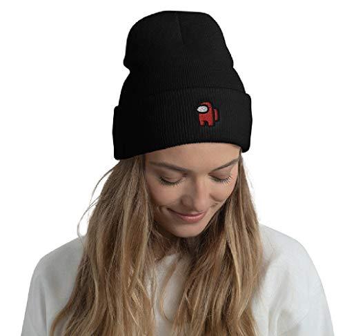 NOA Theme Us Hat Unisex Inverno Knit Hat Cartoon Game Theme Stampato Roll Up Cap Nero Risvolto Caldo Copricapo per Natale Compleanno Cosplay Party Regalo