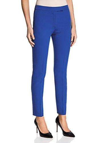 oodji Collection Damen Klassische Eng Zulaufende Hose, Blau, DE 40 / EU 42 / L