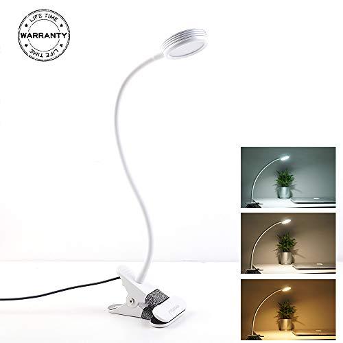 Schreibtischlampe EYOCEAN Klemmlampe LED Leselampe, CE Adapter Enthalten, Augenpflege, Dimmbar 3 Modi & 10 Dimmstufen, für Büro Heimgebrauch, mit 1.6M USB Ladekabel, Weiß
