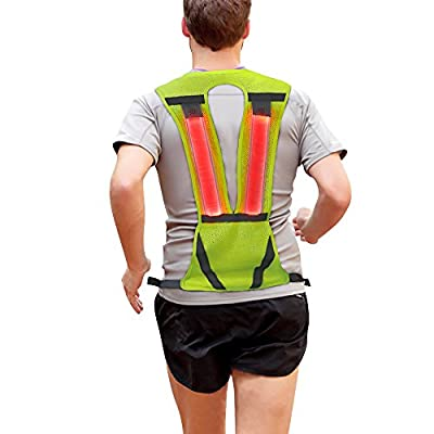 Reflective Vest, Safety Light Running Reflective Gear Vest, Night Safety High Visibility Reflector with Pocket Adjustable, Lightweight, Weatherproof Gear For Jogging & Cycling by Higo- Green Vertical